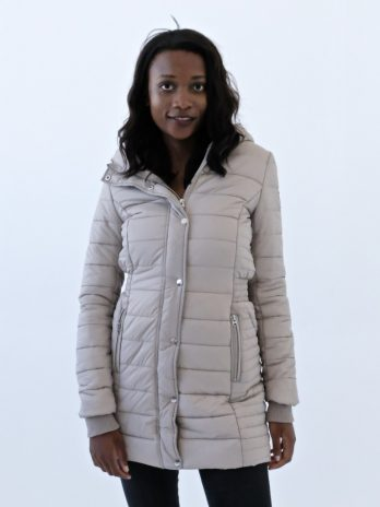 Sassy Sand Long Puffer Jacket With Hood