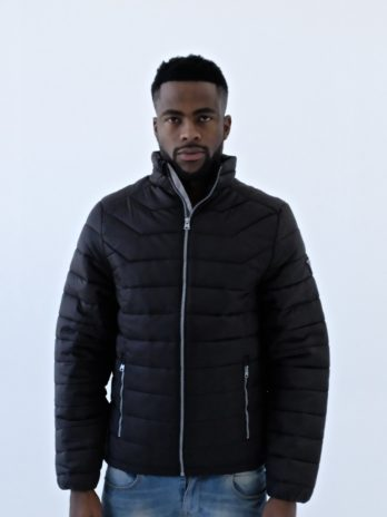 Mens Dark Charcoal Black Short Puffer Jacket