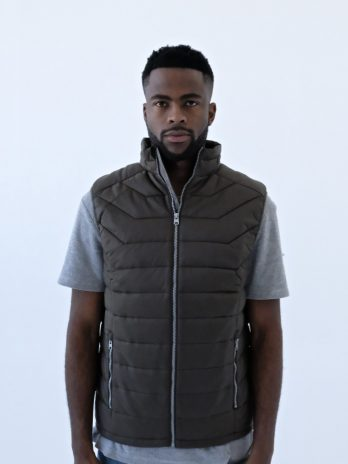 Mens Wild Olive Green Sleeveless Puffer Jacket