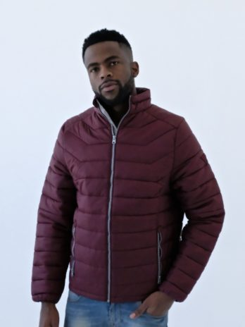 Mens Burgundy Wine Short Puffer Jacket