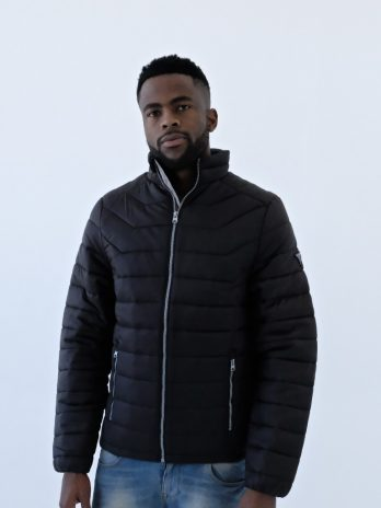 Mens Dark Charcoal Black Short Puffer Jacket Without Hood