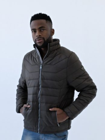Mens Wild Olive Green Short Puffer Jacket