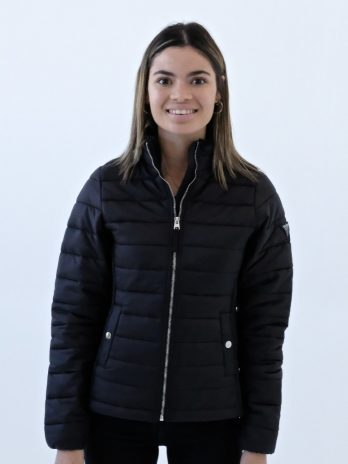 Ladies Dark Charcoal Black Short Puffer Jacket Without Hood