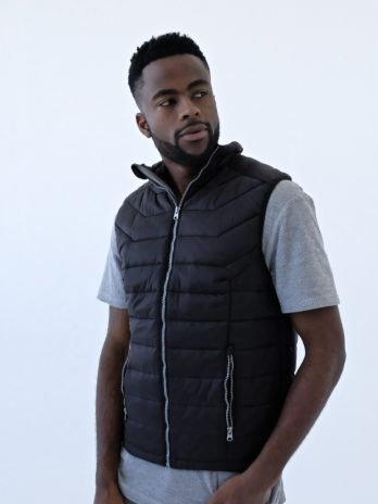 Mens Dark Charcoal Black Sleeveless Puffer Jacket