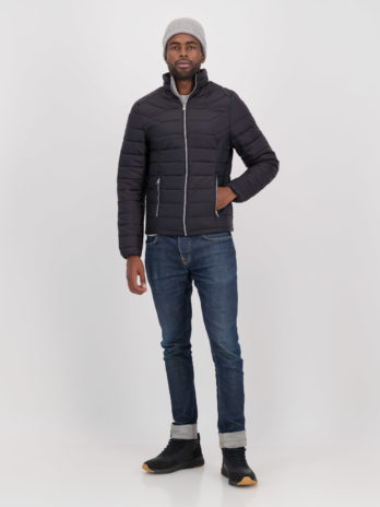 Mens Dark Charcoal Black Short Puffer Jacket