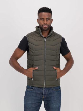 Mens Wild Olive Green Sleeveless Puffer Jacket