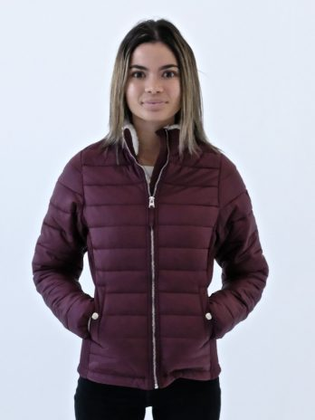 Ladies Burgundy Wine Short Puffer Jacket Without Hood