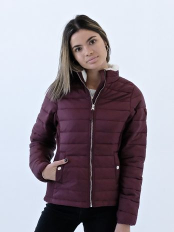 Ladies Burgundy Wine Short Puffer Jacket Without Hood (Faux fur in collar)
