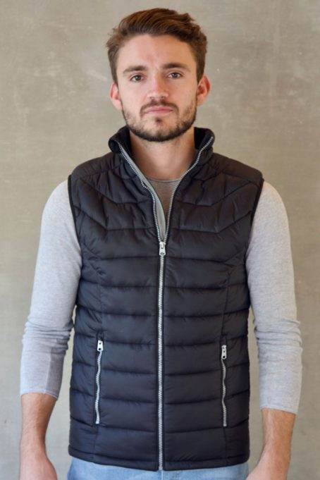 Mens Dark Charcoal Black Sleeveless Puffer Without Hood