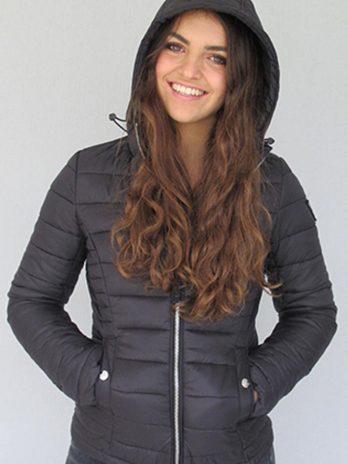 Burlesque Black Short Puffer Hooded Jacket