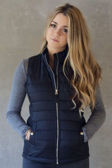 Ladies Dark Charcoal Black Sleeveless Puffer Without Hood