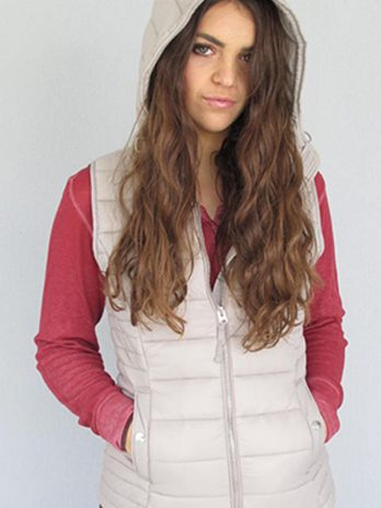 Sassy Sand Sleeveless Hooded Puffer