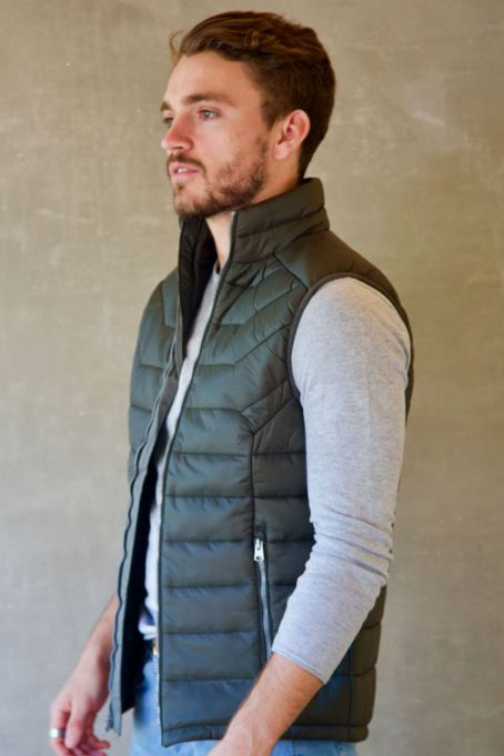 Mens Wild Olive Green Sleeveless Puffer Without Hood