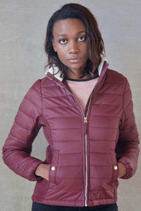 Ladies Burgundy Wine Short Puffer Jacket Without Hood