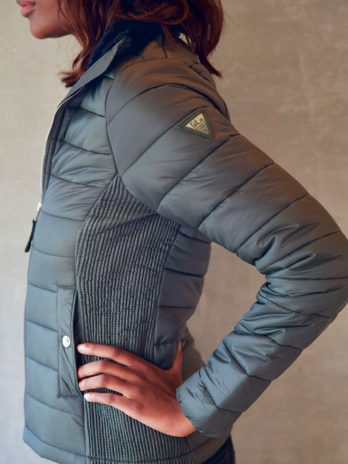 Ladies Wild Olive Green Short Puffer Jacket Without Hood