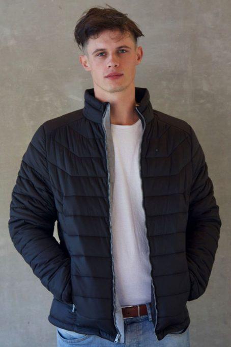 Mens Dark Charcoal Black Short Puffer Jacket Without Hood