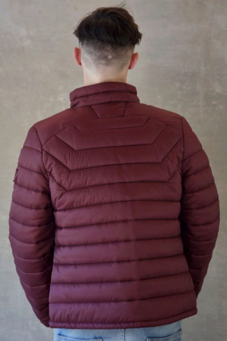 Mens Burgundy Wine Short Puffer Jacket Without Hood