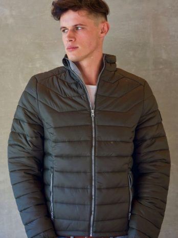 Mens Wild Olive Green Short Puffer Jacket Without Hood