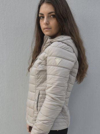 Sassy Sand Short Hooded Puffer Jacket With Hood