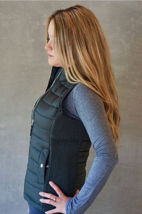 Ladies Wild Olive Green Sleeveless Puffer Without Hood