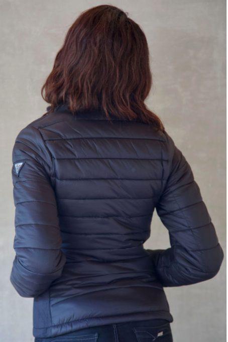 Ladies Dark Charcoal Black Short Puffer Jacket Without Hood