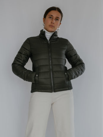 Ladies Wild Olive Green Tonal Short Puffer Jacket Without Hood