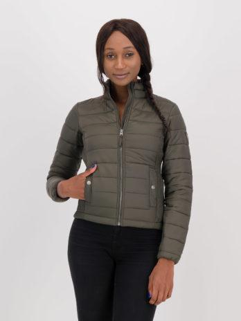 NEW Ladies Wild Olive Green Tonal Short Puffer Jacket