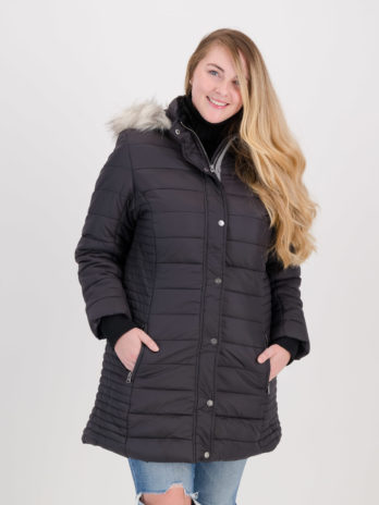 NEW Ladies Dark Charcoal Black Long Puffer Jacket With Detachable Faux Fur Hood