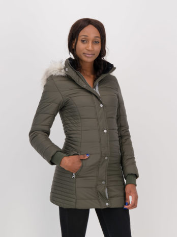 NEW Ladies Wild Olive Green Long Puffer Jacket With Detachable Faux Fur Hood