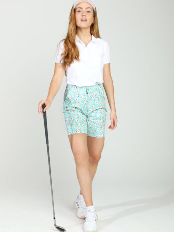 NEW GiLo Ladies Golf Shorts – Mint Ditsy Daisy